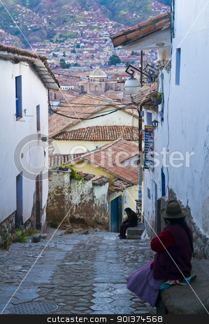 Cusco stock photo, Old narrow street in the center of Cusco Peru by Kobby Dagan