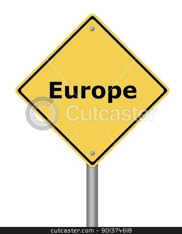 Warning Sign Europe stock photo, Yellow warning sign on white background with the text Europe by Henrik Lehnerer