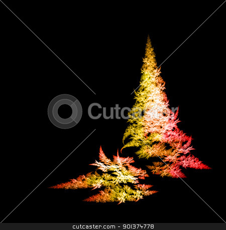 Fractal Christmas tree stock photo, Colorful Fractal Christmas tree on black background by orson