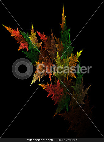 Fractal autumn leafs stock photo, Fractal autumn leafs on black background by orson