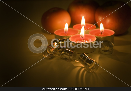 Christmas still life stock photo, Christmas still life with candles by orson