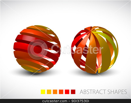 Abstract spheres made from colorful stripes stock vector clipart, Collection of abstract spheres made from colorful stripes by orson