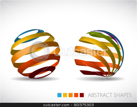 Collection of abstract spheres stock vector clipart, Collection of abstract spheres made from colorful stripes by orson