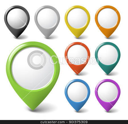 Set of round 3D pointers with place for your content stock vector clipart, Set of round 3D pointers with place for your content - check my portfolio for more by orson