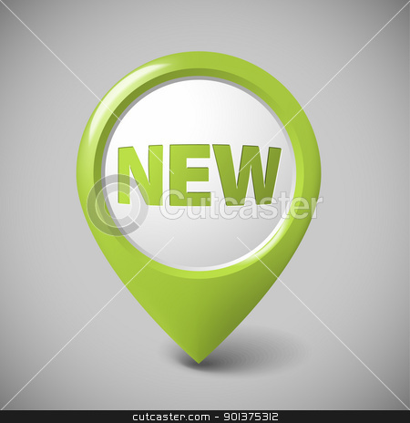 Round 3D pointer for a new item stock vector clipart, Round 3D pointer for a new item - green color (check my portfolio for more versions) by orson