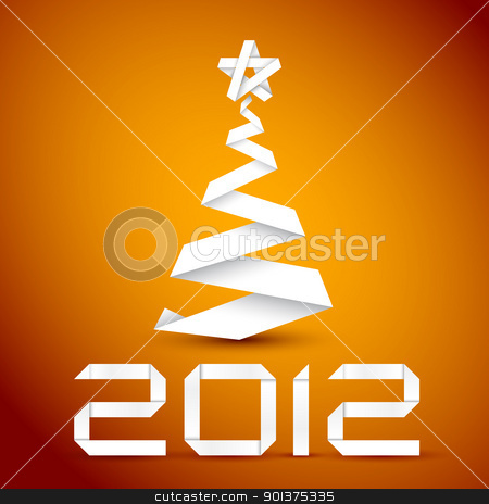 Simple vector christmas tree made from white paper stripe stock vector clipart, Simple vector christmas tree made from white paper stripe - original new year card by orson