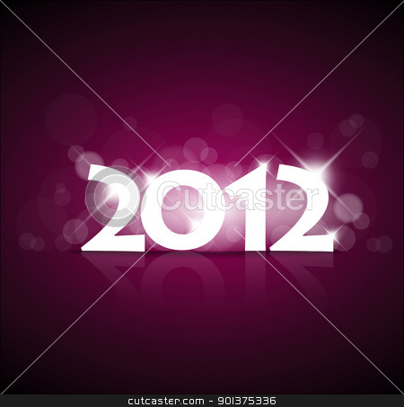 Purple New Year card 2012 with back light stock vector clipart, Purple New Year card 2012 with back light and place for your text by orson