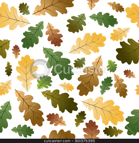 Oak leafs seamless pattern  stock vector clipart, Oak leafs texture - seamless pattern - with white background by orson