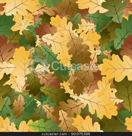 Oak leafs seamless pattern  stock vector clipart, Autumn colorful Oak leafs texture - seamless pattern  by orson