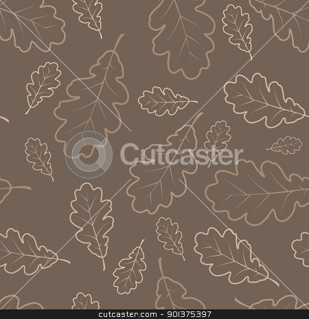 Autumn oak leafs texture stock vector clipart, Oak leafs texture outline drawing - autumn seamless pattern  by orson