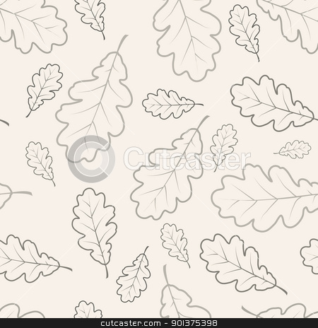 Oak leafs seamless pattern  stock vector clipart, Oak leafs texture outline drawing - seamless pattern  by orson