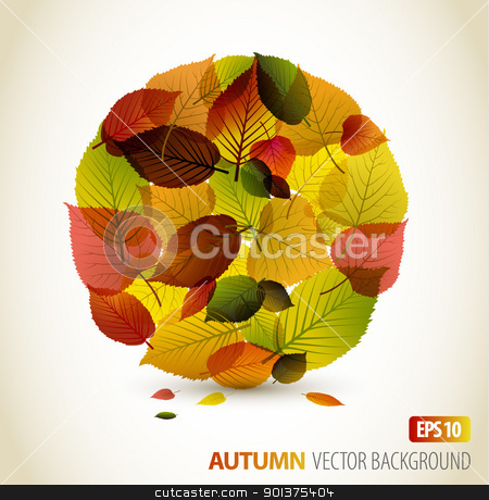 Autumn abstract floral background  stock vector clipart, Autumn abstract floral background - circle from colorful leafs with place for your text by orson