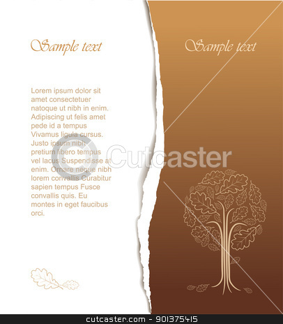 Vintage abstract tree drawing stock vector clipart, Vintage abstract tree drawing with place for your text - nice autumn card by orson