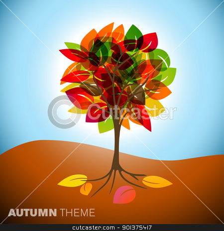 Autumn tree illustration stock vector clipart, Vintage abstract autumn tree drawing with colorful leafs by orson