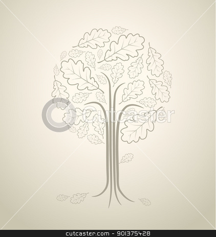 Vintage abstract tree stock vector clipart, Vintage abstract tree drawing made from oak leafs by orson