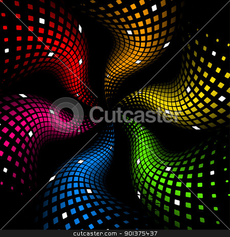 3d abstract dynamic rainbow background  stock vector clipart, 3d abstract dynamic rainbow background on black by orson