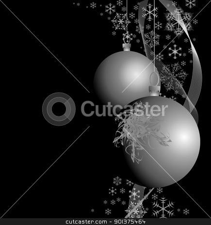 Silver Christmas bulbs stock vector clipart, Silver Christmas bulbs with snowflakes on black background  by orson