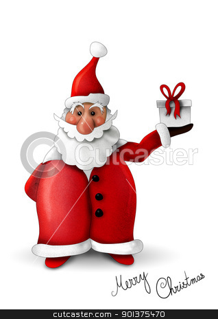 Santa Claus with gift isolated on white stock photo, Santa Claus with gift isolated on white by aos1212