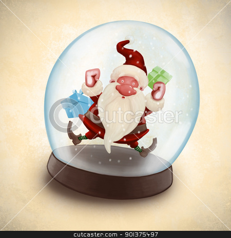 Santa Claus in snowball stock photo, Santa Claus imprisoned in glass snow globe by Giordano Aita