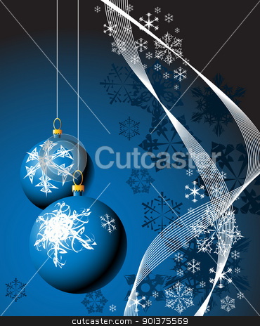 Christmas bulbs with snowflakes stock vector clipart, Christmas bulbs with snowflakes on blue background by orson