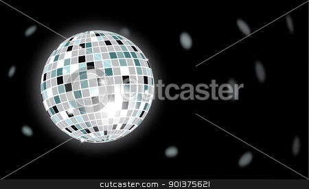 Disco ball stock vector clipart, Disco ball reflecting light in background by Haider Azim