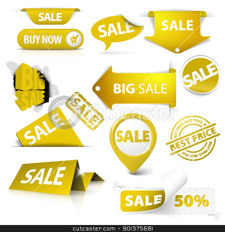 Collection of vector golden yellow sale tickets, labels, stamps stock vector clipart, Collection of vector golden yellow sale tickets, labels, stamps, stickers, corners, tags on white background by orson