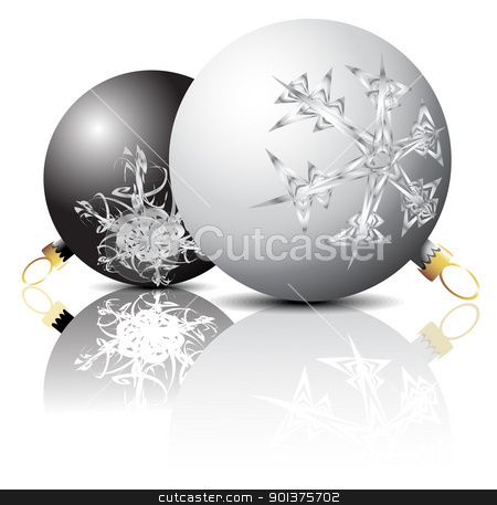 Black and white christmas bulbs stock vector clipart, black and white