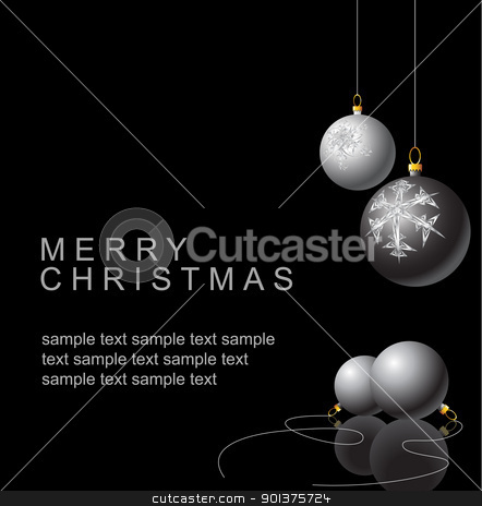Black and white Christmas bulbs stock vector clipart, Black and white Christmas bulbs with snowflakes ornaments on a black background by orson