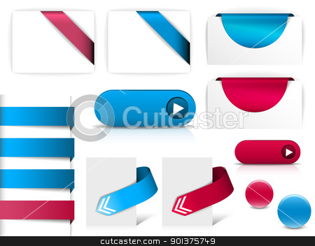 Blue and purple vector elements for web pages stock vector clipart, Blue and purple vector elements for web pages - buttons, navigation, pointers, arrows, badges, ribbons by orson