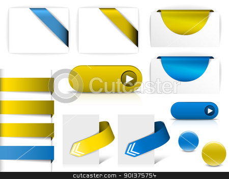 Blue and yellow vector elements for web pages stock vector clipart, Blue and yellow vector elements for web pages - buttons, navigation, pointers, arrows, badges, ribbons by orson