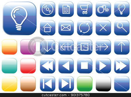 Vector glass buttons - squares stock vector clipart, Vector glass buttons - squares - for your webpage or application by orson