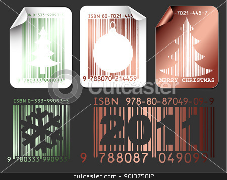 Abstract Christmas shopping labels stock vector clipart, Set of metallic labels with Christmas bar codes (vector) by orson