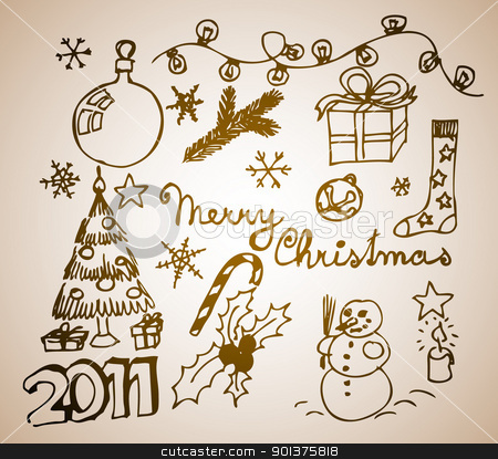 Christmas doodle illustrations stock vector clipart, Vector Christmas and New Year doodle illustration  by orson