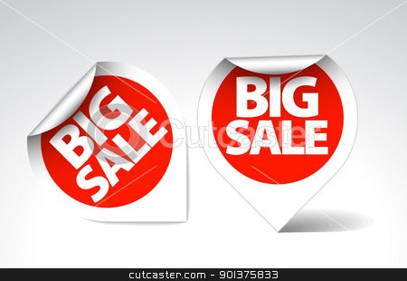 round Labels / stickers for big sale stock vector clipart, Round Labels / stickers for big sale - red with white border by orson