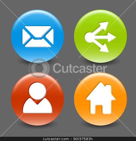 Set of colorful vector web circle buttons stock vector clipart, Set of colorful vector web circle buttons (home, share, users, email) by orson