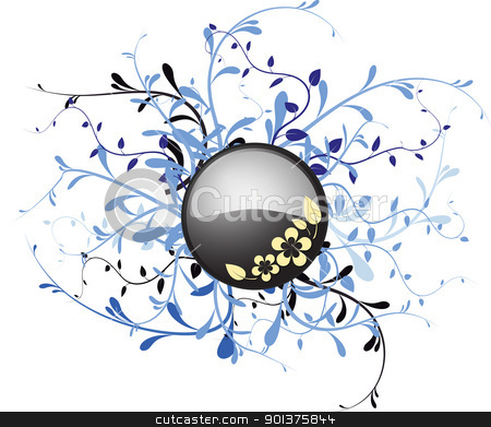 Metal button with floral  stock vector clipart, Metal button with floral elements on a white background by orson