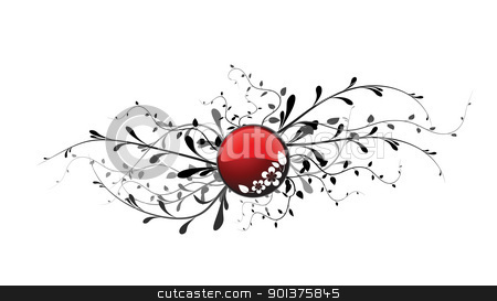 Red button with floral elements stock vector clipart, Red button with floral elements on white background by orson