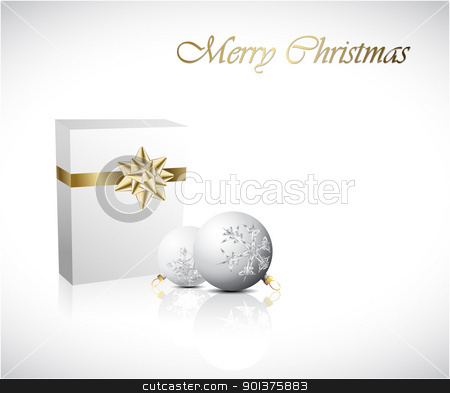 Christmas Gift box with two christmas decorations stock vector clipart, Christmas Gift box with two christmas decorations (vector) by orson