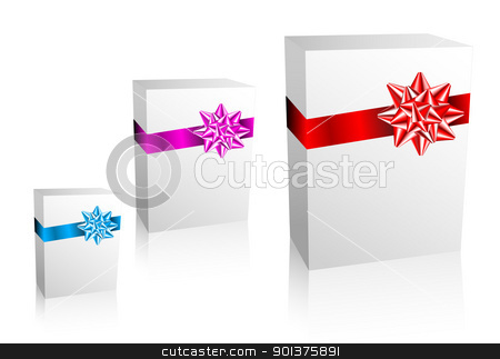 Thre Christmas / Valentine / Birthday Gift boxes stock vector clipart, Thre Christmas / Valentine / Birthday Gift boxes on white background by orson