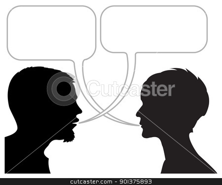 dialogue comic strip stock vector clipart, dialogue comic strip with silhouettes and speech bubbles by orson