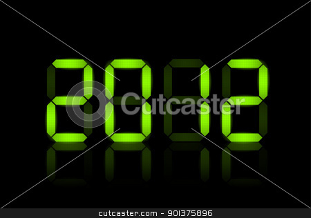Vector New Year card 2012 stock vector clipart, Vector New Year card 2012 - green lcd numbers by orson