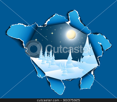 Hole to the winter snowy landscape stock vector clipart, Hole in paper into the winter snowy landscape by orson