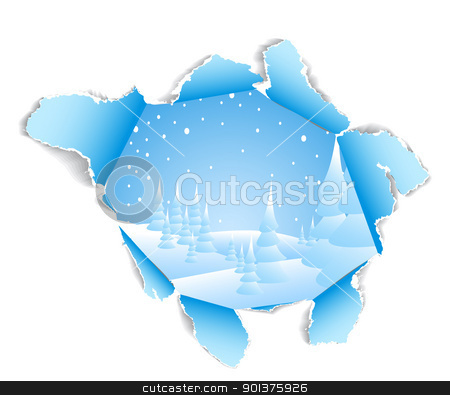 Hole to the winter snowy landscape stock vector clipart, Hole in white paper to the winter snowy landscape by orson