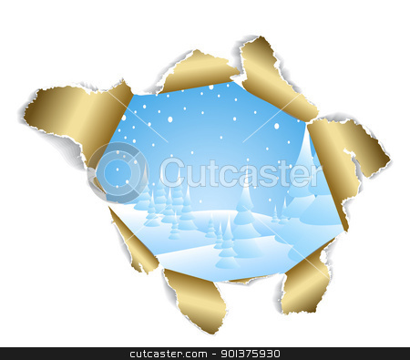 hole to the winter snowy landscape  stock vector clipart, Golden hole to the winter snowy landscape  by orson