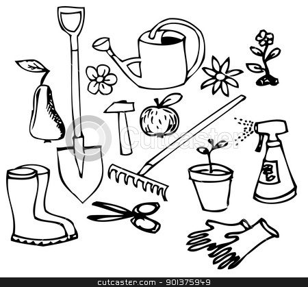 Gallery For Gardening Tools Clipart Black And White
