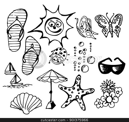 Summer doodle elements stock vector clipart, Summer doodle elements - sun, ocean, flower by orson