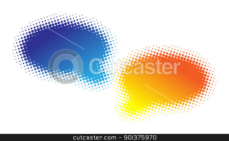 Two halftone bubbles dialog stock vector clipart, Two halftone bubbles dialog - blue and orange by orson