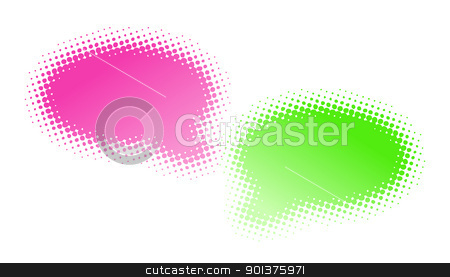 Two halftone bubbles dialog stock vector clipart, Two halftone bubbles dialog - abstract illustration by orson