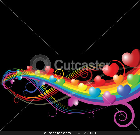 Valentines card stock vector clipart, Abstract rainbow curves with hearts - valentines card by orson