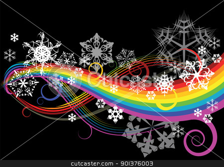 Abstract rainbow curves stock vector clipart, Abstract rainbow curves with snowflakes by orson
